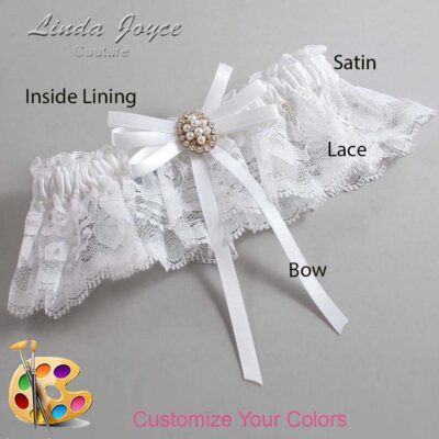 Customizable Wedding Garter / Chrissy #10-B11-M17-Gold