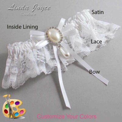 Customizable Wedding Garter / Florence #10-B11-M35-Silver