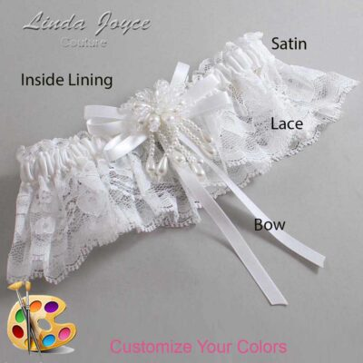 Customizable Wedding Garter / Gabrielle #10-B11-M38-Pearl