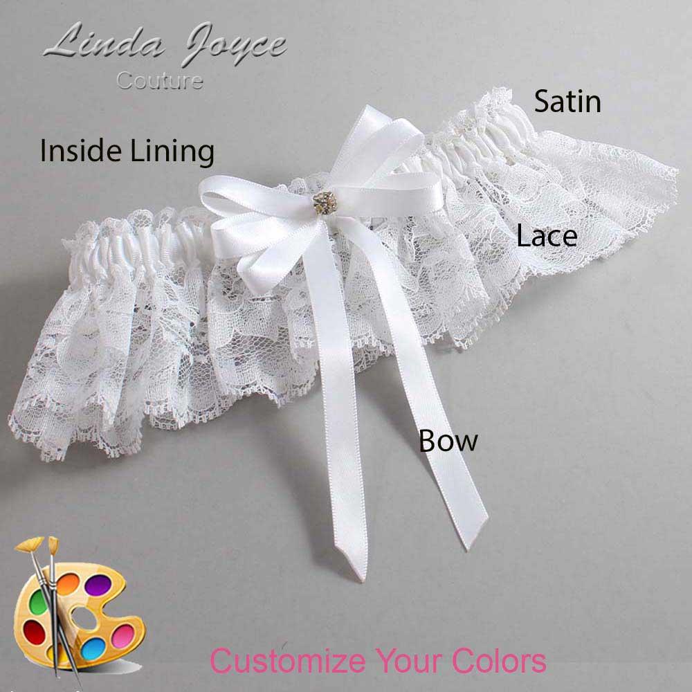 Customizable Wedding Garter / Pamela #10-B12-M03-Gold