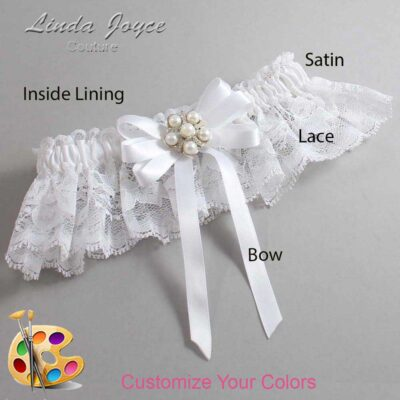 Customizable Wedding Garter / Carmilla #10-B12-M13-Silver