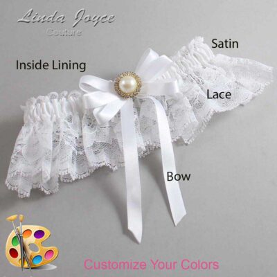 Customizable Wedding Garter / Carol #10-B12-M21-Gold