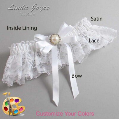 Customizable Wedding Garter / Carol #10-B12-M22-Silver