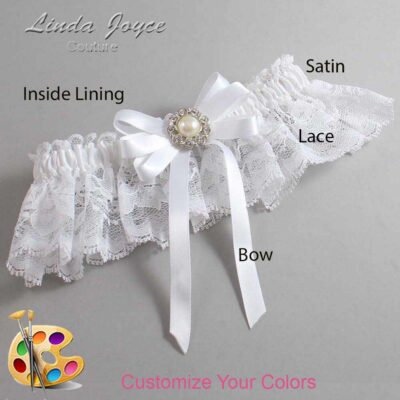 Customizable Wedding Garter / Wanda #10-B12-M24-Silver