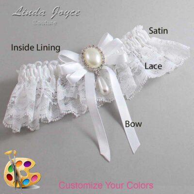 Customizable Wedding Garter / Yvonne #10-B12-M35-Silver