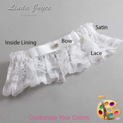 Customizable Wedding Garter / Lana #10-B20-M04-Silver