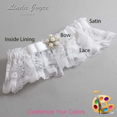 Customizable Wedding Garter / Haley #10-B20-M13-Silver