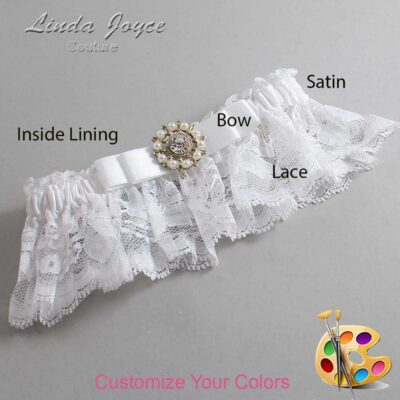 Customizable Wedding Garter / Kelsea #10-B20-M14-Silver