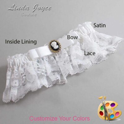 Customizable Wedding Garter / Avery #10-B20-M15-Black-Gold
