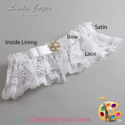 Customizable Wedding Garter / Becky #10-B20-M27-Silver