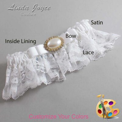 Customizable Wedding Garter / Martha #10-B20-M28-Gold