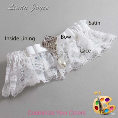 Customizable Wedding Garter / Miranda #10-B20-M33-Silver