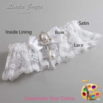 Customizable Wedding Garter / Joan #10-B31-M32-Silver