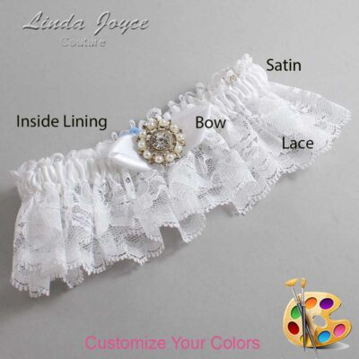 Customizable Wedding Garter / Drew #10-B41-M14-Silver