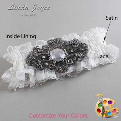 Couture Garters / Custom Wedding Garter / Customizable Wedding Garters / Personalized Wedding Garters / Bijou # 11-A02-Black / Wedding Garters / Bridal Garter / Prom Garter / Linda Joyce Couture