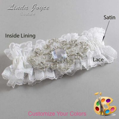 Couture Garters / Custom Wedding Garter / Customizable Wedding Garters / Personalized Wedding Garters / Bijou # 11-A04-Silver / Wedding Garters / Bridal Garter / Prom Garter / Linda Joyce Couture