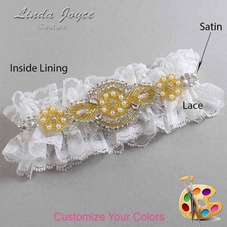 Couture Garters / Custom Wedding Garter / Customizable Wedding Garters / Personalized Wedding Garters / Charlotte # 11-A05-Gold / Wedding Garters / Bridal Garter / Prom Garter / Linda Joyce Couture