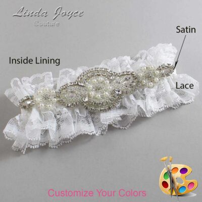 Couture Garters / Custom Wedding Garter / Customizable Wedding Garters / Personalized Wedding Garters / Charlotte # 11-A06-Silver / Wedding Garters / Bridal Garter / Prom Garter / Linda Joyce Couture