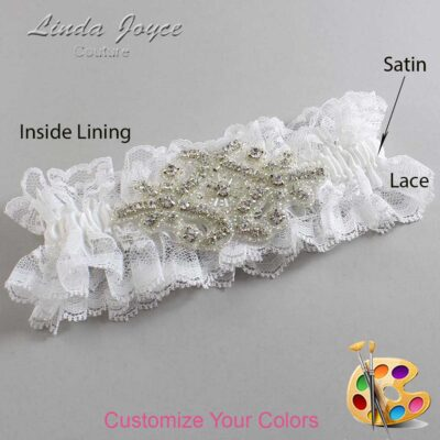 Couture Garters / Custom Wedding Garter / Customizable Wedding Garters / Personalized Wedding Garters / Heather # 11-A07-Silver / Wedding Garters / Bridal Garter / Prom Garter / Linda Joyce Couture