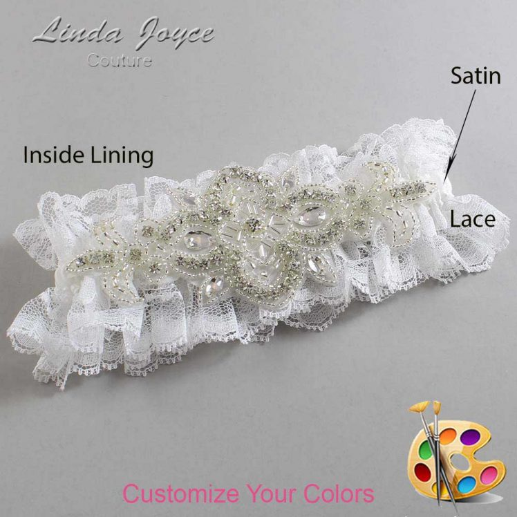 Couture Garters / Custom Wedding Garter / Customizable Wedding Garters / Personalized Wedding Garters / Isabella # 11-A08-Silver / Wedding Garters / Bridal Garter / Prom Garter / Linda Joyce Couture