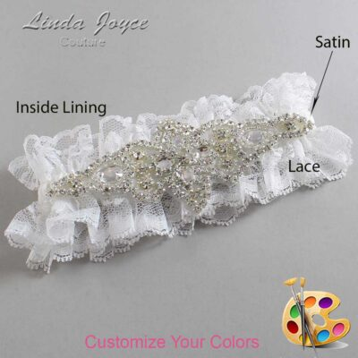 Couture Garters / Custom Wedding Garter / Customizable Wedding Garters / Personalized Wedding Garters / Lorine # 11-A09-Silver / Wedding Garters / Bridal Garter / Prom Garter / Linda Joyce Couture