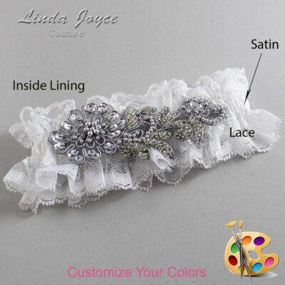 Couture Garters / Custom Wedding Garter / Customizable Wedding Garters / Personalized Wedding Garters / Mitzi # 11-A10-Gunmetal / Wedding Garters / Bridal Garter / Prom Garter / Linda Joyce Couture