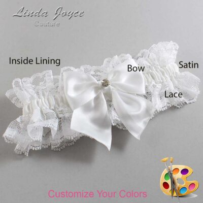 Customizable Wedding Garter / Pamela #11-B01-M04-Silver