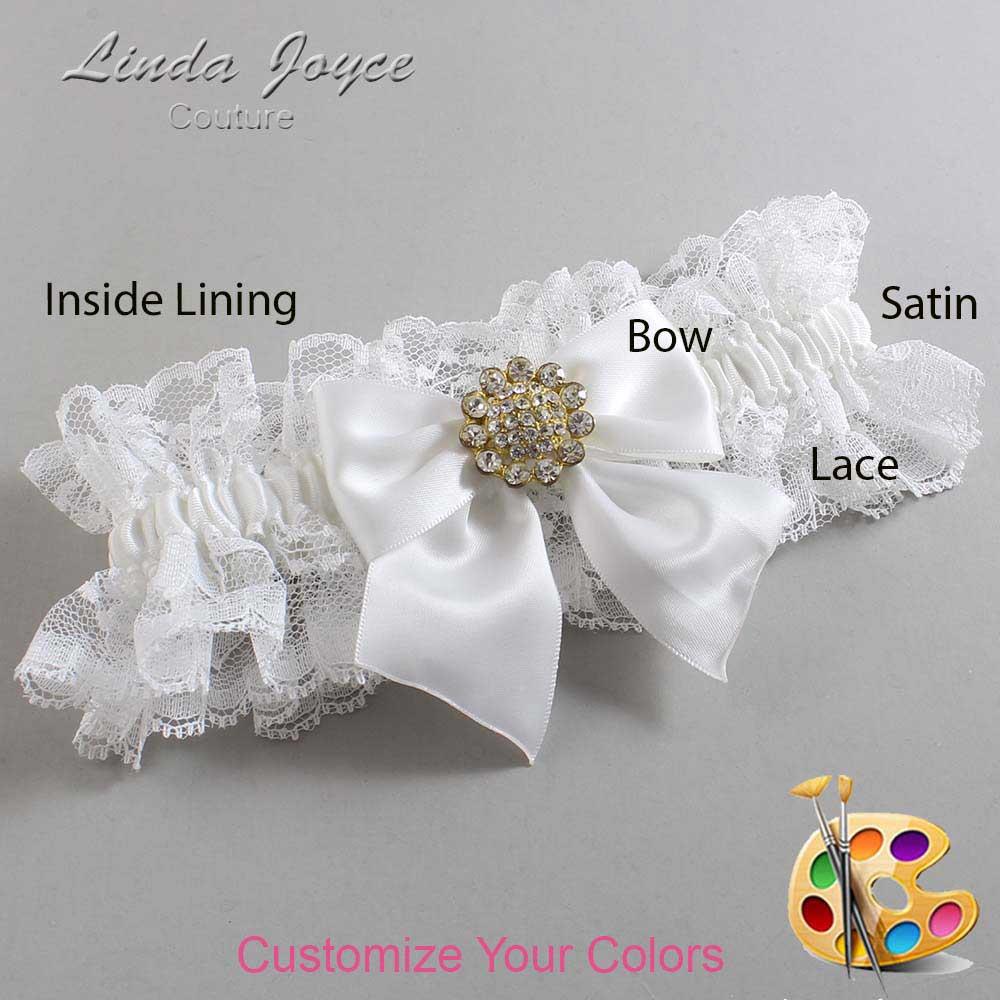 Customizable Wedding Garter / Penny #11-B01-M12-Gold