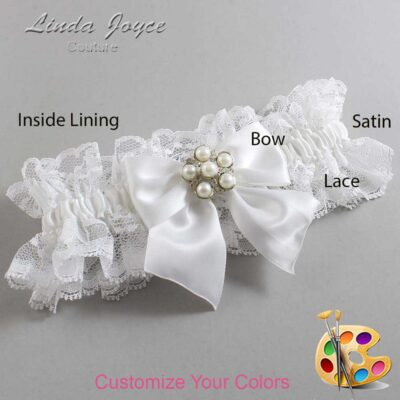 Customizable Wedding Garter / Monica #11-B01-M13-Silver