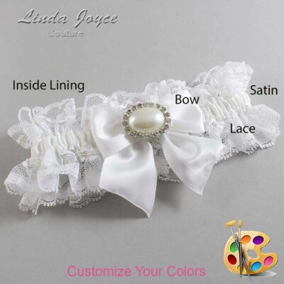 Customizable Wedding Garter / Nicole #11-B01-M30-Silver
