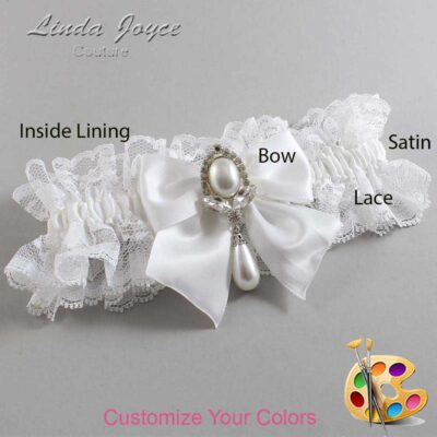 Customizable Wedding Garter / Jessica #11-B01-M32-Silver