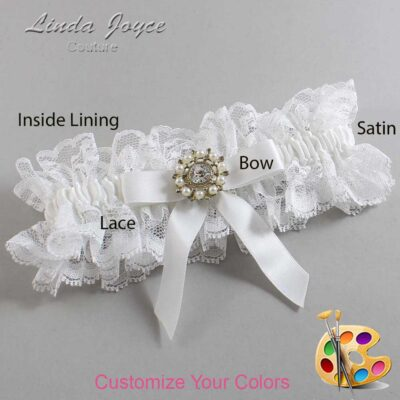 Customizable Wedding Garter / Caroline #11-B03-M14-Silver