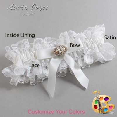 Couture Garters / Custom Wedding Garter / Customizable Wedding Garters / Personalized Wedding Garters / Daryl #11-B03-M16 / Wedding Garters / Bridal Garter / Prom Garter / Linda Joyce Couture