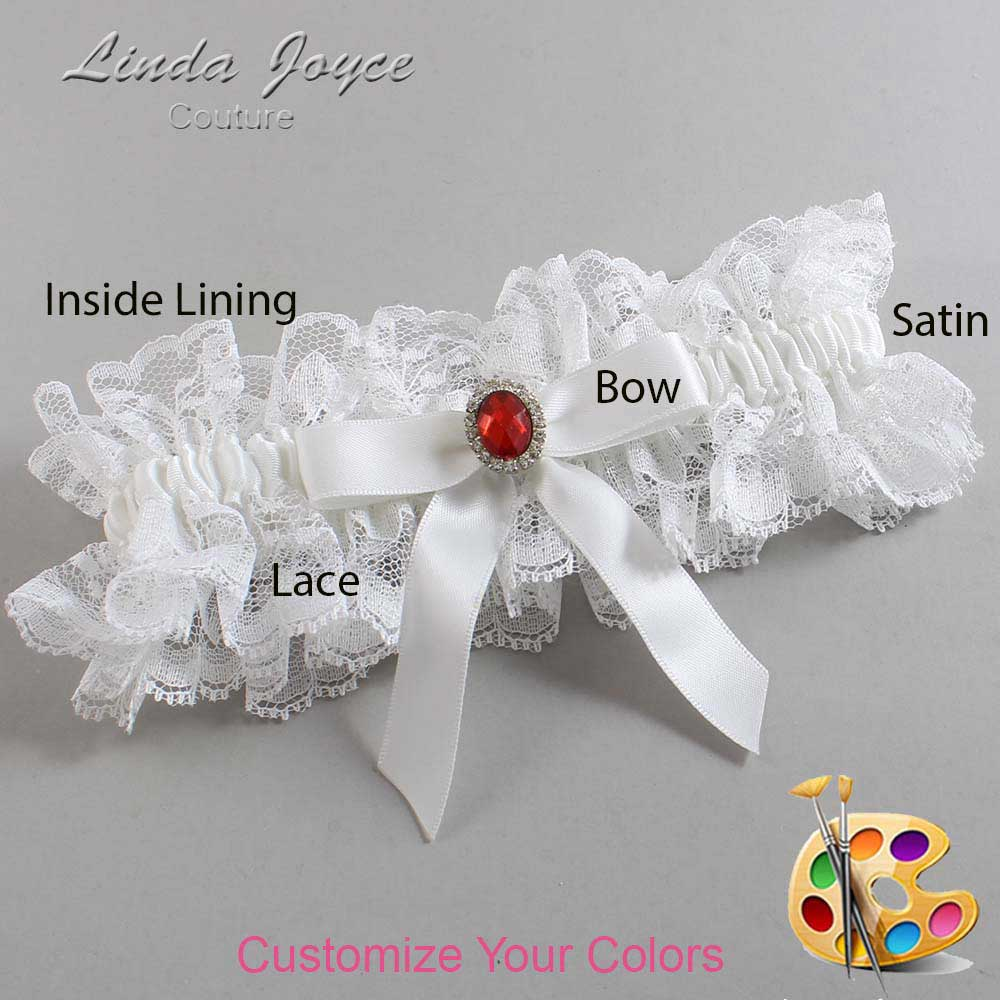 Customizable Wedding Garter / Fran #11-B03-M26-Silver-Ruby