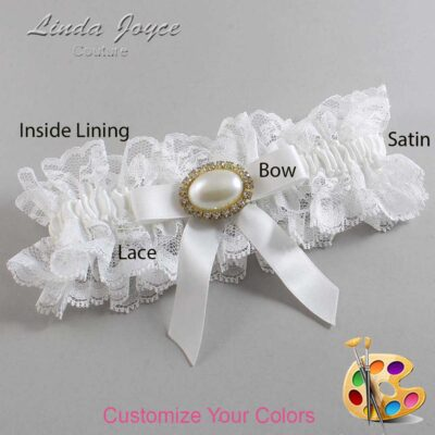 Customizable Wedding Garter / Eva #11-B03-M28-Gold