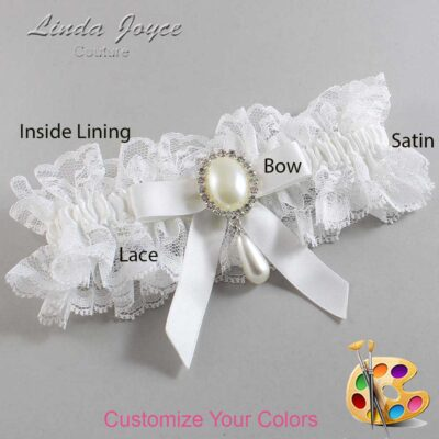 Customizable Wedding Garter / Demi #11-B03-M35-Silver
