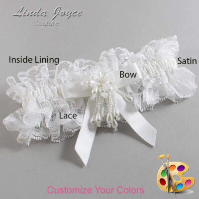 Customizable Wedding Garter / Kiley #11-B03-M38-Pearl