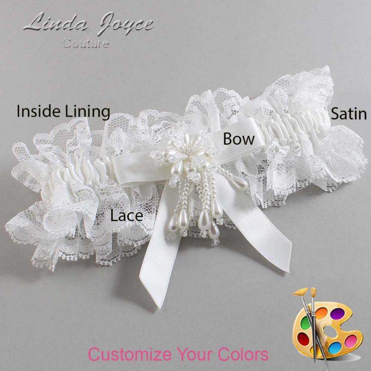 Couture Garters / Custom Wedding Garter / Customizable Wedding Garters / Personalized Wedding Garters / Kiley #11-B03-M38 / Wedding Garters / Bridal Garter / Prom Garter / Linda Joyce Couture
