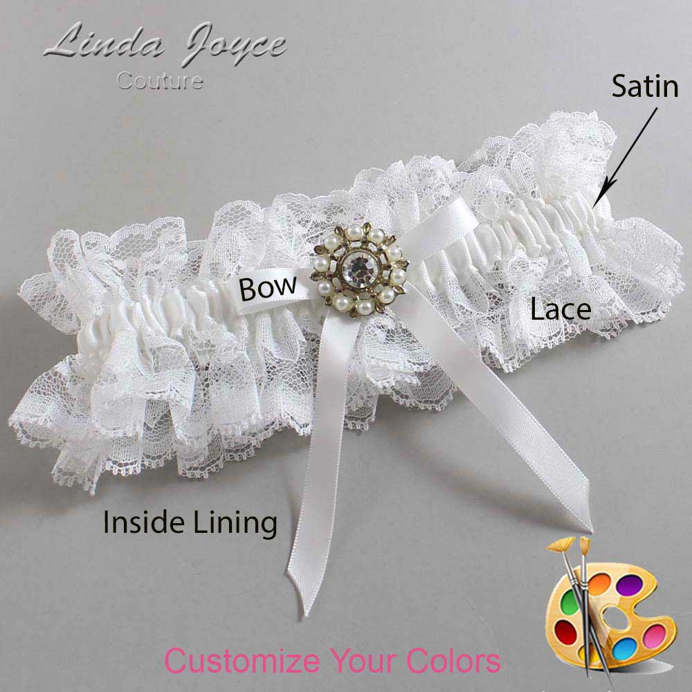 Customizable Wedding Garter / Chandra #11-B04-M14-Silver