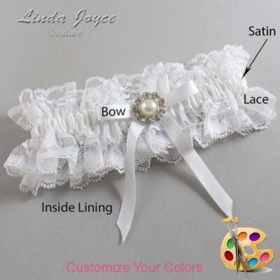 Customizable Wedding Garter / Diana #11-B04-M24-Silver