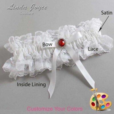 Customizable Wedding Garter / Dottie #11-B04-M26-Silver-Ruby