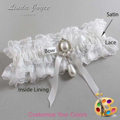Customizable Wedding Garter / Erika #11-B04-M32-Silver