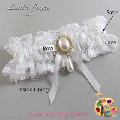 Couture Garters / Custom Wedding Garter / Customizable Wedding Garters / Personalized Wedding Garters / Eunice #11-B04-M34 / Wedding Garters / Bridal Garter / Prom Garter / Linda Joyce Couture