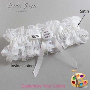 Couture Garters / Custom Wedding Garter / Customizable Wedding Garters / Personalized Wedding Garters / Custom Button #11-B04-M44 / Wedding Garters / Bridal Garter / Prom Garter / Linda Joyce Couture
