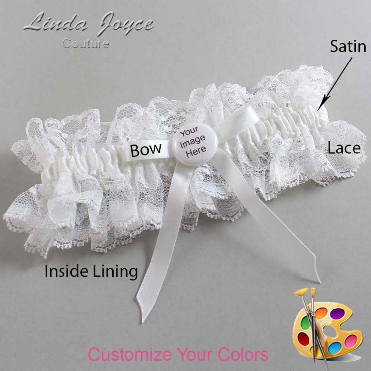 Couture Garters / Custom Wedding Garter / Customizable Wedding Garters / Personalized Wedding Garters / Custom Button #11-B04-M44 / Wedding Garters / Bridal Garter / Prom Garter / Linda Joyce Couture