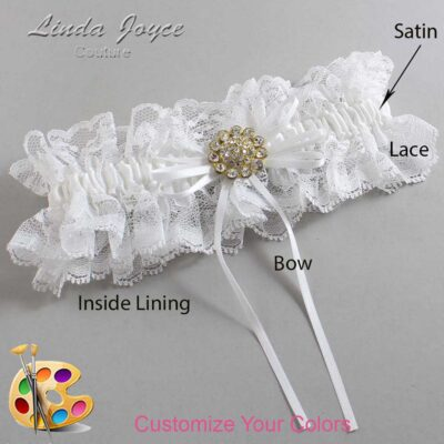 Customizable Wedding Garter / Charlene #11-B10-M12-Gold