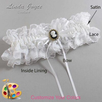 Customizable Wedding Garter / Hazel #11-B10-M15-Black-Gold