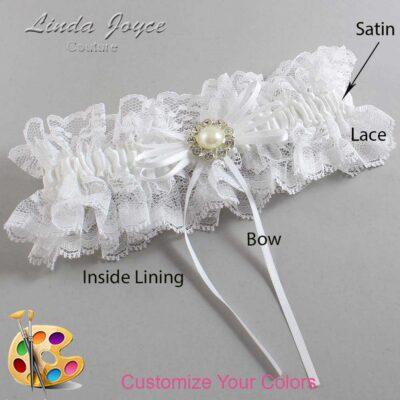 Customizable Wedding Garter / Irene #11-B10-M24-Silver