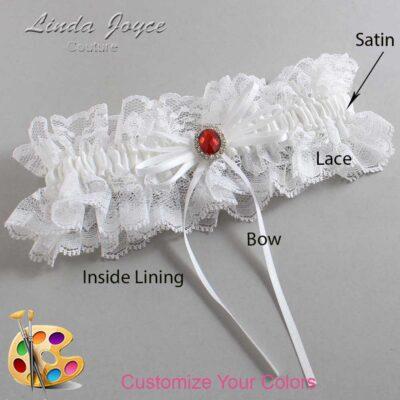 Customizable Wedding Garter / Mandy #11-B10-M26-Silver-Ruby