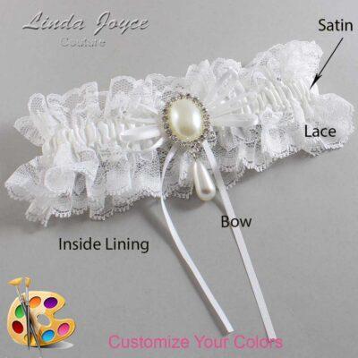 Customizable Wedding Garter / Andrea #11-B10-M35-Silver